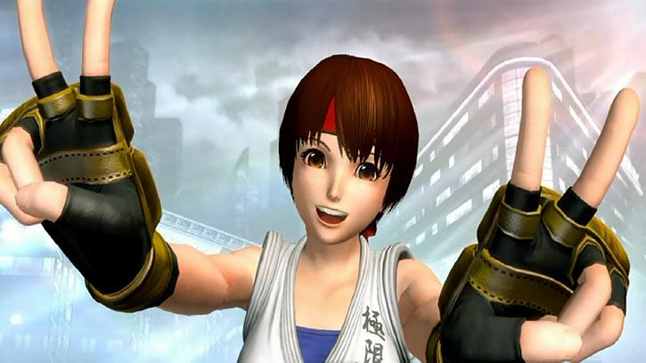 Yuri Sakazaki - King of Fighters games - Throwing V signs victory