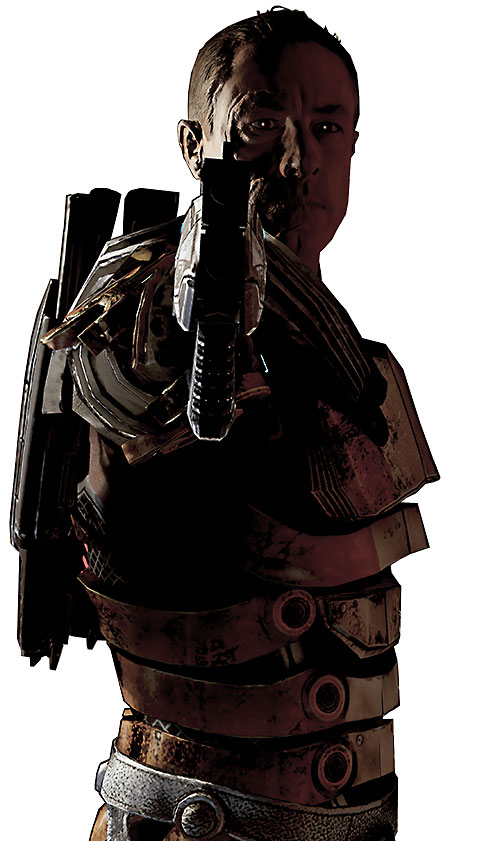 Zaeed Massani (Mass Effect 2) dramatically pointing his Predator