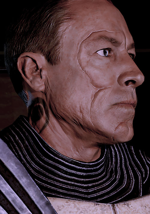 Zaeed Massani (Mass Effect 2) face closeup damaged side