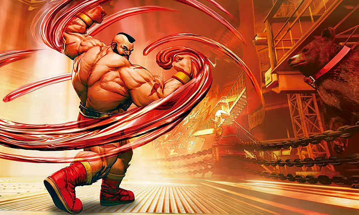 Zangief in Street Fighters 5 - Flexing near a bear and other Russian symbols