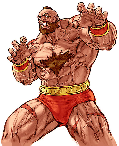 Zangief from Street Fighter video games ready to wrestle