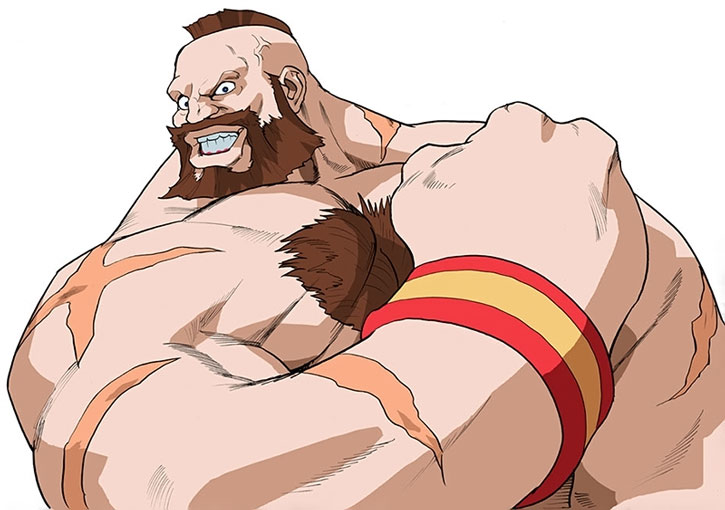Zangief flexing over a white background