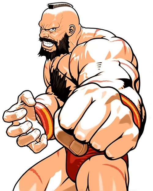 Zangief from Street Fighter video games fist closeup