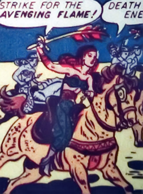 Zara of the Crimson Flame (Wonder Woman enemy) (DC Comics) with a horse and a flaming scimitar