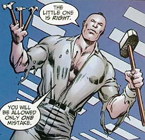 Zaran (Zhou Man She) (Marvel Comics) out of costume, wielding hammers