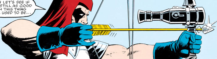 Zartan (G.I. Joe enemy) (Marvel Comics) aiming a bow with a telescopic sight