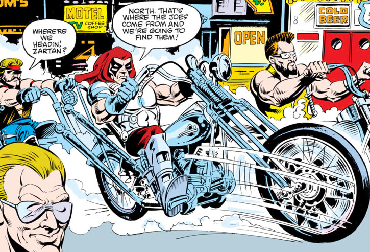 Zartan (G.I. Joe enemy) (Marvel Comics) riding with the Dreadnocks