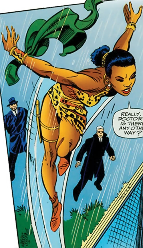 Zawadi (Marvel Comics Lost Generation) leaping over a high fence