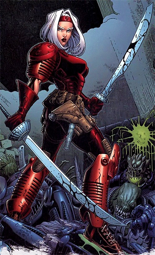 Zealot of the WildCATs (Image comics) dual-wielding sabres