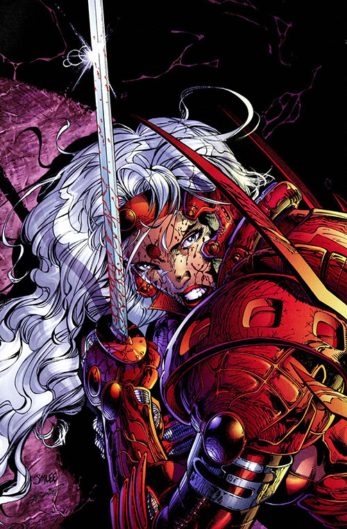 Zealot of the WildCATs (Image comics) with a bloodied face and sword