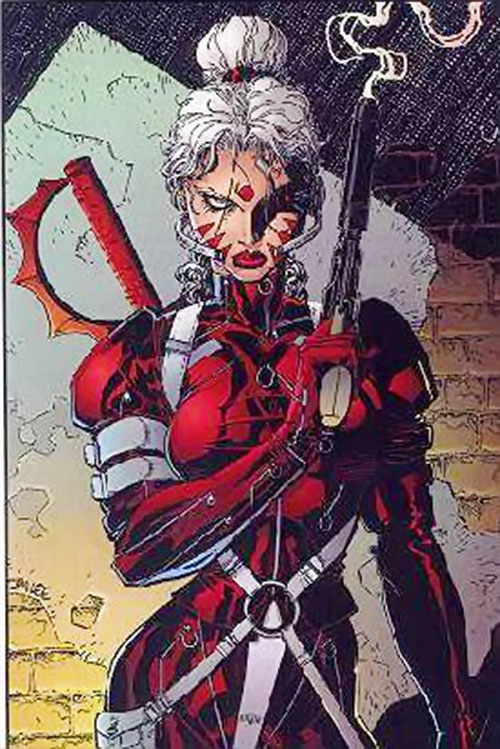 Zealot of the WildCATs (Image comics) with a smoking gun