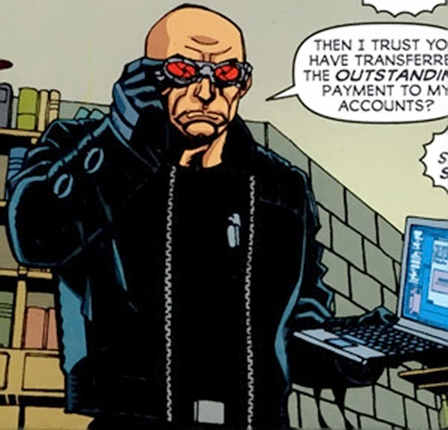 Zeiss (Batman enemy) (DC Comics) with a laptop and black leather jacket