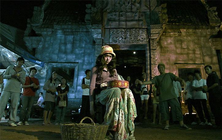Zen (Jeeja Vismistananda) giving a street performance
