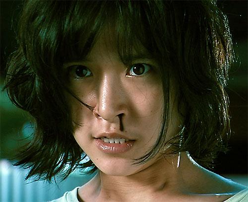 Zen (Jeeja Vismistananda in Chocolate) face closeup with bleeding nose