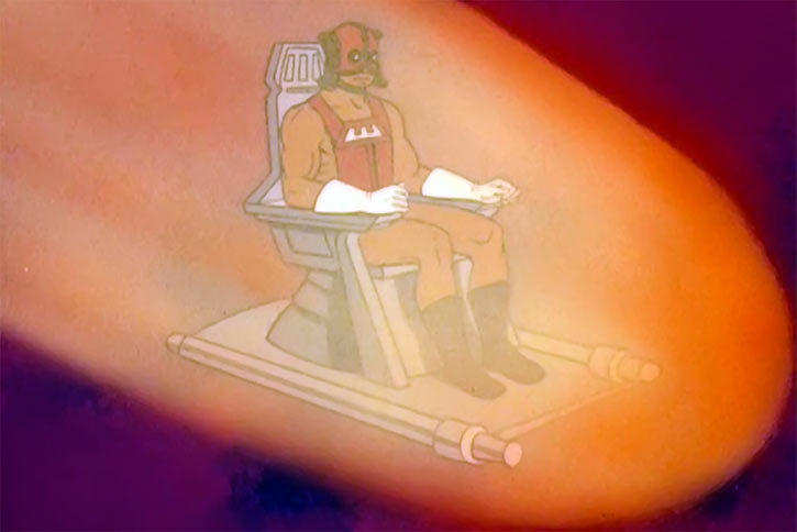 Zodac (He-Man and the Masters of the Universe cartoon) on his chair, atmosphere entry