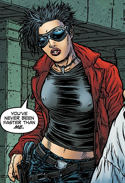 Zoe Jump (Black Summer Avatar Comics) hand on pistol