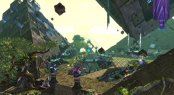 Bird's eye view of Rata Sum in Guild Wars 2
