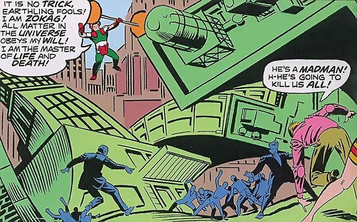 Zokag the Demolisher deforming a city