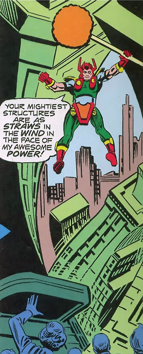 Zokag the Demolisher (Shade the Changing Man) (DC Comics Ditko) warping tall buildings
