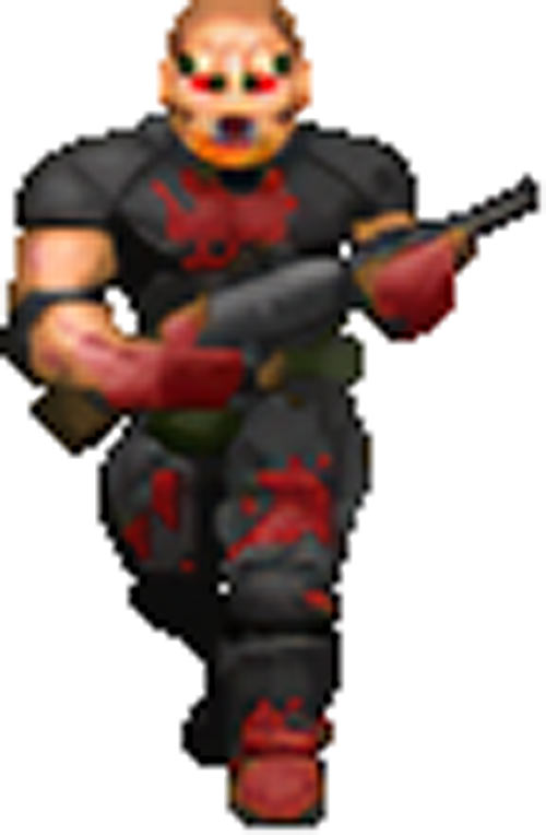 Zombie sergeant Doom video game sprite AI-based upscale by Hidfan