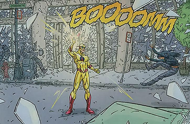 Zoom (Hunter Zolomon) emits a sonic boom