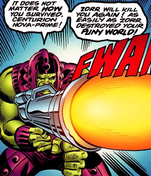 Zorr (Nova enemy) (Marvel Comics) fires his huge rifle