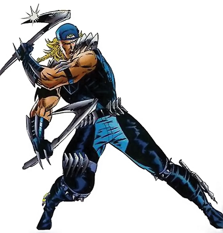X-Treme (Adam X Summers) in battle, over a white background
